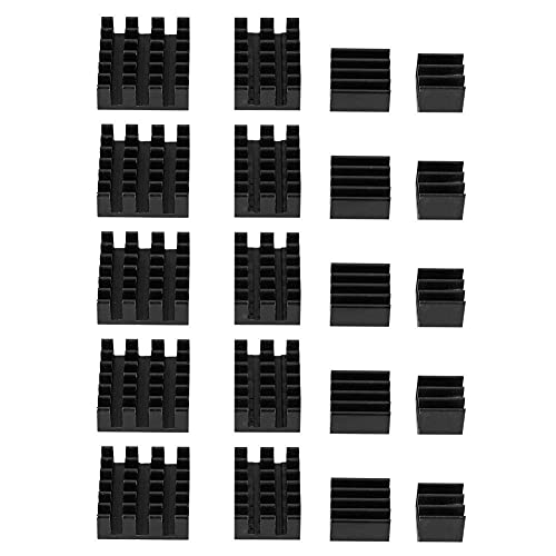 Heat Sink, 20pcs Black Aluminum Heat Sink CPU Cooler with Adhesive for Raspberry Pi 2/3/4 3B + 4B