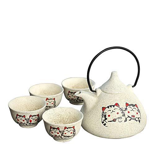 Panbado Juego de Teteras de Cerámica Juegos de Café de Porcelana Tetera de Té Kungfu de Viaje Portátil, 1 Tetera y 4 Tazas, Estilo Japonés, Mejor Regalo para Cumpleaños, Navidad, San Valentín - Blanco