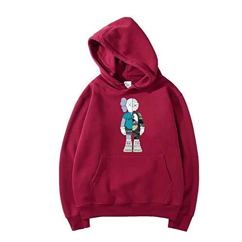WSX Primavera Y El Otoño con Capucha para Niños Moda Impresión De Hip-Hop Ocio Suelta De Manga Larga con Capucha Unisex Chaleco Deportivo,Red2-M