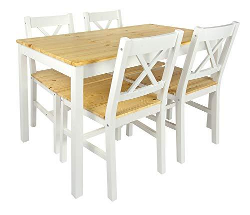 Merkell Conjunto Mesa de Pino y 4 sillas de Madera a la Sala de Estar, Comedor White Pine