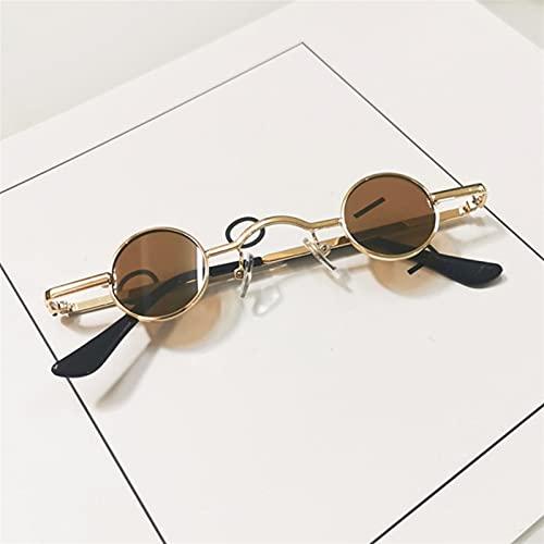 Pequeñas Gafas de Sol Redondas Mujeres Hombres UV400 Metal Punk Sun Glasses Steampunk Vintage Conductor Gafas Sombras Negras (Color : 9, Size : G)