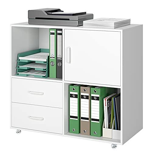 Aktenschrank Büroschrank auf Rollen Rollcontainer mit 2 Schubladen Druckerschrank Holz Mehrzweckschrank Sideboard Industriedesign Vintage Braun 75x39 x80cm