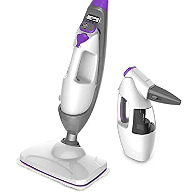 Steam Mop - Steam Cleaner Multifunctional Steamer, Worked as Floor Steam Cleaner Handheld Garment Steamer Carpet Cleaner Window Cleaner 5-In-1 Electric Floor Mop with 1 Mop Pad 11.5Oz Tank, 20FT Cord