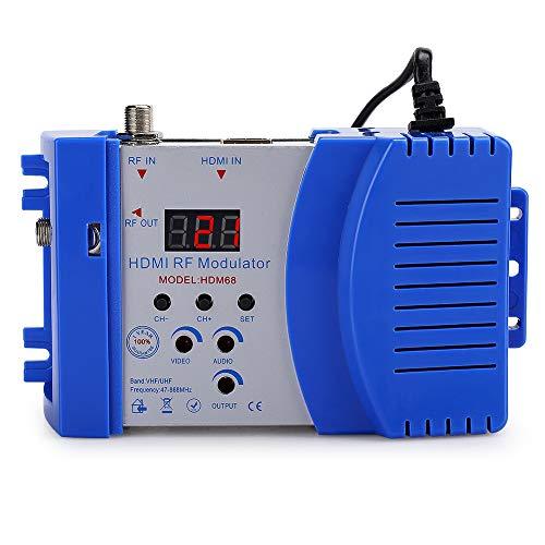 PUSOKEI Modulador HD, modulador de frecuencia HDMI RF VHF/UHF Digital, Entrada RF Hembra HDMI y Salida RF Hembra, Formato PAL TV Audio Video TV Converter