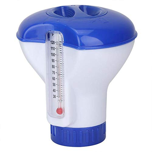Pool Dosierschwimmer mit eingebaute Thermometer Chlordosierschwimmer Mini für 200g Tabletten, zur Reinigung von Pool und Spa