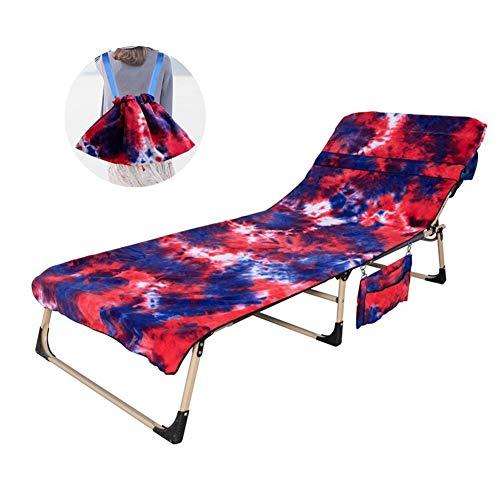 Toalla de playa, funda para silla de playa, funda de silla de salón de microfibra con bolsillos laterales de almacenamiento para piscina, tumbona, hotel, vacaciones de playa (solo funda para silla) rosso