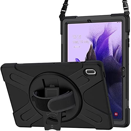 ProCase Funda para Galaxy Tab S7 FE SM-T730 T736, Bumper Rugoso 360° Rotativo Asa de Mano, Carcasa Robusta Antichoques para Galaxy Tab S7 FE 12,4' –Negro