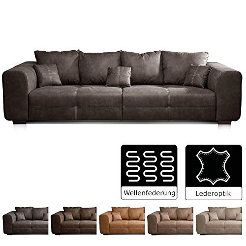 Cavadore Big Sofa Mavericco / Big Couch im modernen Design  in Lederoptik / Inklusive Rückenkissen und Zierkissen / 287 x 69 x 108 cm (BxHxT) / Mikrofaser Anthrazit