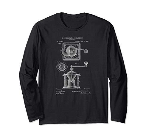 1885年コーヒーミルグラインダーコーヒー愛好家特許プリント 長袖Tシャツ