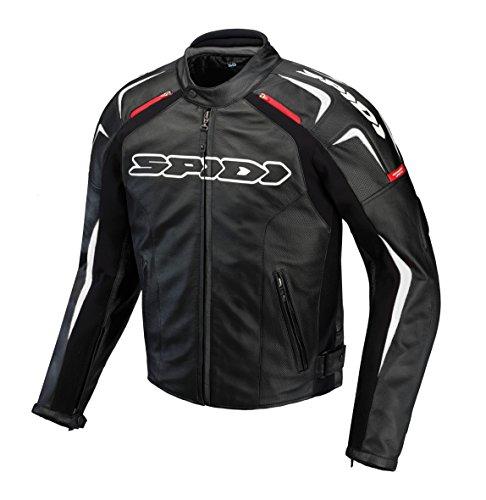 SPIDI Motorrad Track Leder Jacke, Schwarz/Weiss, Größe 48