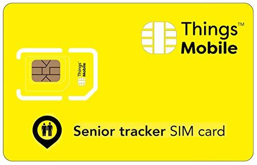 Tarjeta SIM para TRACKER / LOCALIZADOR GPS PARA PERSONAS MAYORES - Things Mobile - cobertura global, red multioperador GSM/2G/3G/4G, sin costes fijos, sin vencimiento. 10€ de crédito incluido