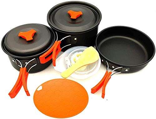 YSCYLY Leggero Portatile Pentole Set,Set di pentole da 12 Pezzi con Tagliere,per Campeggio Escursionismo Alpinismo Backpacking Picnic Outdoor Cooking Set