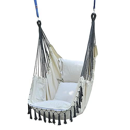 DFGH Hochwertiger Hängesessel Beige extra große Sitzfläche mit 2 Sitzkissen Hängestuhl für Erwachsene & Kinder -Belastbar bis 150 kg - Hängesitz für Indoor & Outdoor (Wohn & Kinderzimmer, Garten)