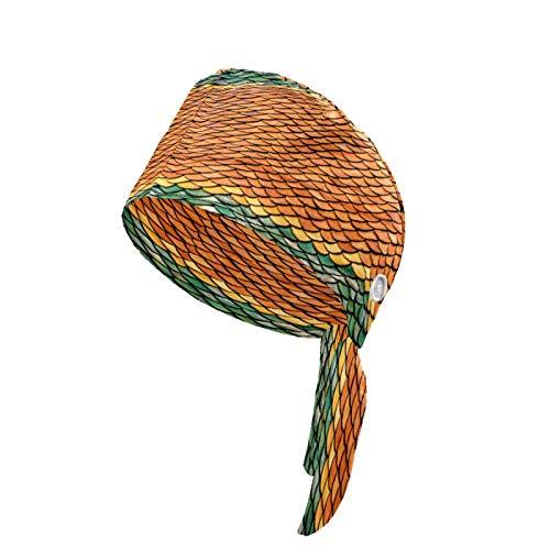 Gorra de trabajo de mujer con botón y banda para el sudor Bouffant sombreros de cabeza impresas cubiertas ajustables lazo trasero sombrero headwraps para hombres escamas de pescado arte antiguo