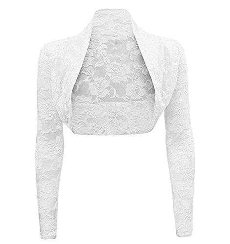 WanYang Mujeres Simple Y Elegante Bolero De Manga Larga Casual Fiesta Chaqueta De Encaje Cardigan Jacket De Moda