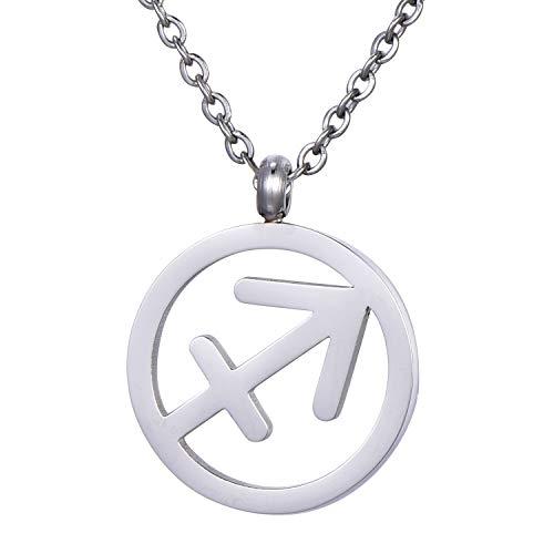 Morella Collar Acero Inoxidable Plata con Colgante Signo del Zodiaco Sagitario en Bolsa de Terciopelo