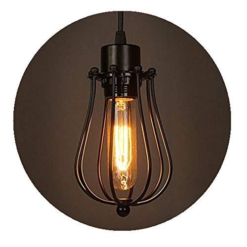 Moderno Vintage Industrial Metal Negro Jaula de Alambre Loft Lámpara Colgante Luz de Techo Pantalla Retro Pequeño Colgante Accesorio de Iluminación E27 Socket