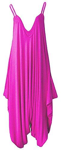 Frauen Damen Plain ärmel Cami Baggy Strapy Body Harem Jumpsuit Playsuit Lagenlook Top-Kleid plus Größe XL XXL XXXL 36 38 40 42 44 46 48 50 52 54, Fuchsia, M / L