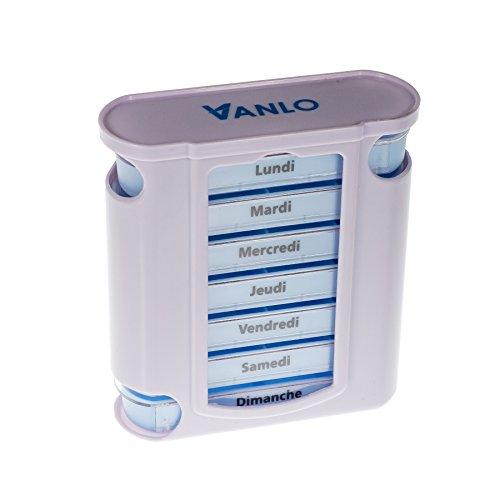 """VANLO Pillendoos """"Tower"""" 7 dagen met 4 vakken per dag, pillendoos, tablettendoos, weekdoseerder, medicijndoos in Frans"""