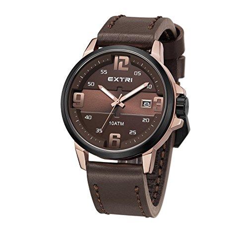 extri x3010–Reloj de Pulsera analógico de Cuarzo Piel x3010C