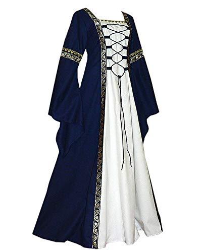 Remikstyt Womens Renaissance Medieval Dress Trumpet Sleeve Retro Costume Over Dress Navy