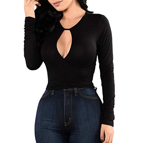Shineshae T Shirt Damen Basics Oberteile Mode Sexy Langarm T-Shirt O-Ausschnitt Einfarbig Slim-Fit Tshirt Shirt Tops Casual Elegant Bluse