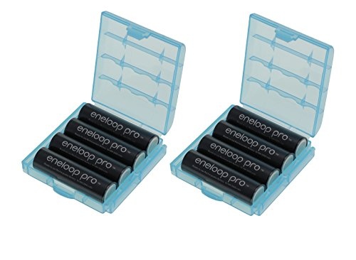 8er Pack Eneloop XX Pro Mignon Typ AA Akkus 2550 mAh (powered by eneloop Technology) HR-3UWXB (mind. 2450mAh) mit 2x hochwertigen Akkuboxen der Firma HEIBA Electronics