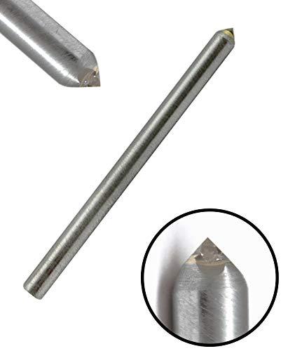 Corintian Graveerdiamant diamant graveersteek 4 facetten geslepen - Ø 3-6 mm, L 28,5 mm - 165 mm, 90-120 graden, geperforeerde diamant, tandgravure in glas Ø 6mm, L 50mm