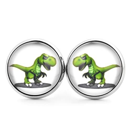 SCHMUCKZUCKER Damen Kinder Unisex Ohrstecker Motiv T-Rex Dinosaurier Edelstahl Ohrringe Silber Weiß Grün 14mm