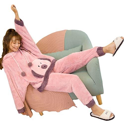 GJF dames fleece pyjama sets vrouwen knuffelige lounge pyjama winter top en Bottoms leuk nachtkleding