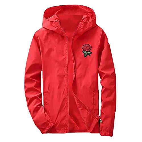 MAYOGO Herren Softshelljacke Zip Übergangsjacke Sweatjacke Kapuzenjacke College Jacke Regenjacke Windjacke (rot, XL)