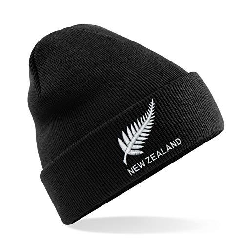 Print Me A Shirt Bonnet de rugby pour homme et femme - Casquette classique brodée de Nouvelle-Zélande - Noir - Respirant - Confortable