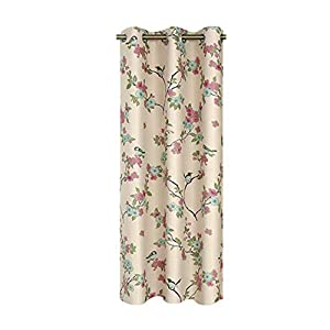 Country Curtains Floral Tree and Birds Print Sheer Curtain Drapes for Kids Bedroom Light Flow Rod Pocket Voile Tulle Nursery Window Treatment for Living Room 1 Panel