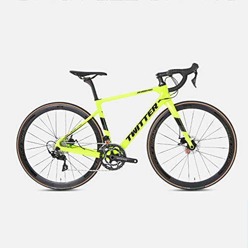 Yinhai Rennräder, 22-Gang-20-Zoll-Fahrräder, Carbonrahmen, Straßenradrennen, Doppelrad-Doppelbremsräder Mit Rädern,Green 51cm