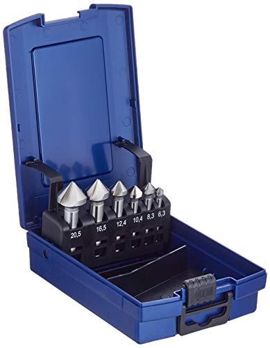 BOHRCRAFT 17001330006 Kegelsenker Set HSS-G in ABS-Box KS6-K 6-teilig, 6 Stück Durchmesser 6,3-20,5 mm, Blau, silber