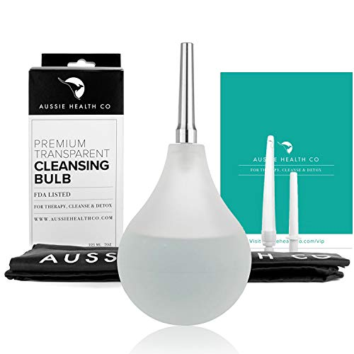 Aussie Health Co Clear Enema Bulb Kit - 7 oz Anal Douche with 1 Hygienic Stainless Steel Tip and 2 Rubber Comfort Leak Proof Tips - for Water or Coffee Colon Cleansing, Detox and Constipation