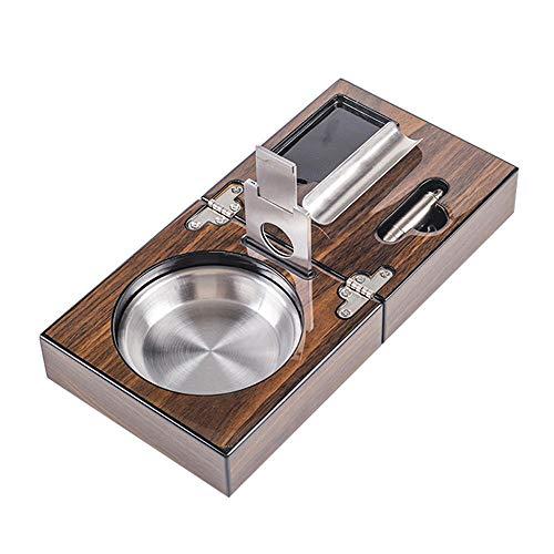 Zigarettenaschenbecher mit Zigaretten-Cutter, Zigaretten-Zubehör, zusammenklappbar, Edelstahl, Braun