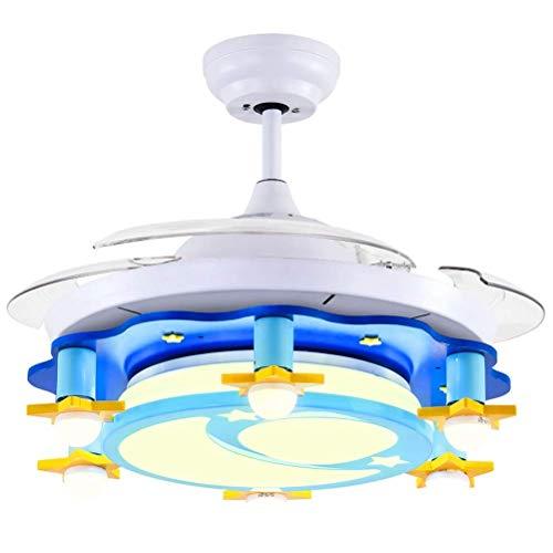 Creatieve plafondventilator met lamp, ventilator voor kinderen, slaapkamer, voor jongens en meisjes, wandschakelaar, L