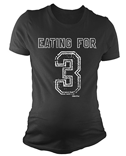 BritTot T-Shirt de maternité pour Dames Eating for 3 Twins Funny bébé Cadeau de Grossesse by