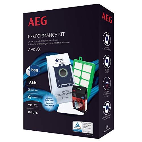 AEG APKVX s-Bag Vorteil-Set: 4X GR 201S Plus s-Filter AEF 12, Motorfilter AEF 54, s-Fresh Duft, Passend u.a. für APF 61, VX 6-2, FC 8371 schwarz