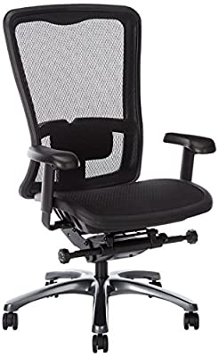Office Star High Back Breathable ProGrid Back and Seat Adjustable Black Managers Chair, Gunmetal Finish by Office Star