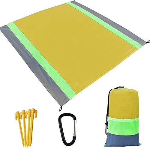 Bestomrogh Manta de playa, grande, 210 x 200 cm, impermeable, portátil, para pícnic al aire libre, con 4 clavijas fijas, mosquetón y bolsillo para viajes, camping, senderismo (amarillo)