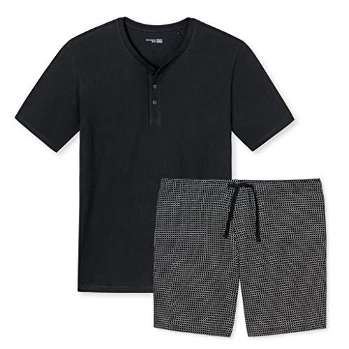 Schiesser - Mix & Relax Kombi - Schlafanzug T-Shirt mit Knopfleiste und Hose kurz (52 Schwarz Gemustert)