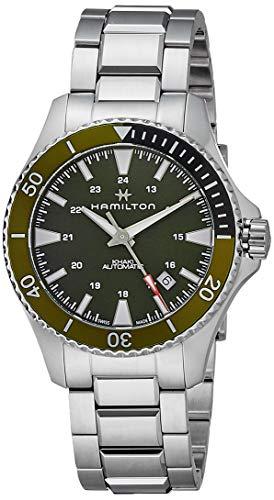 Hamilton Orologio Analogico Automatico Uomo con Quadrante e Ghiera Verde, Cinturino in Acciaio Inox e Riserva di Carica di 80 ore - H82375161