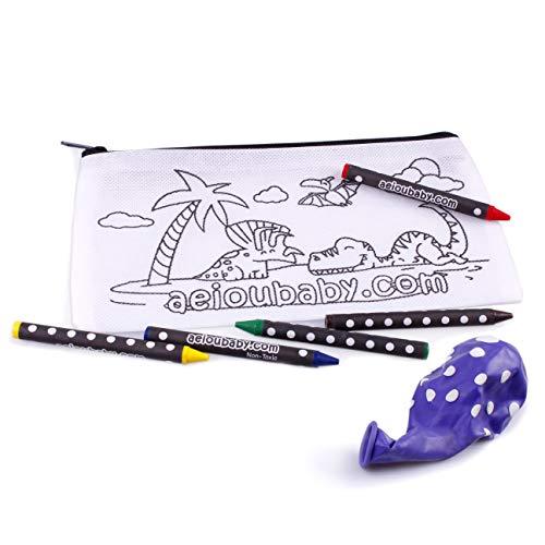 10 Etuis om in te kleuren | 10 individuele zakjes met 5 wax kleurpotloden en ballon | Cadeau kinderen voor feestjes en verjaardagen