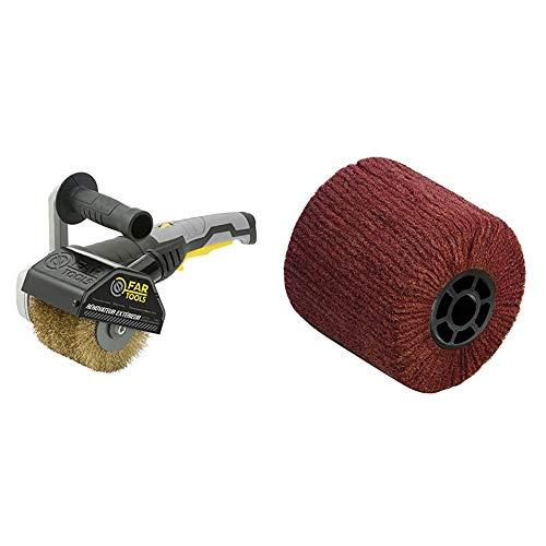 Fartools REX 120 Schleifmaschine für Außenrenovierungen, 1300 W, Schwarz + Fartools 110873–Bürste aus Kunstfaser für Schleifmaschine REX120, Durchmesser 120mm schwarz
