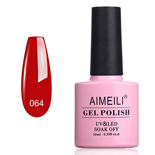 AIMEILI Smalto Semipermente per Unghie in Gel UV LED Smalti per Unghie Colori per Manicure Soak Off Rosso - Pillar Box Red (064) 10ml