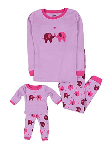 Leveret Elephant Matching Doll & Girl 2 Piece Pajama Set 100% Cotton (8 Years)