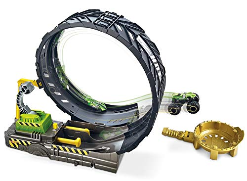 Hot Wheels Monster Trucks pista de coches de juguete con mega loop, incluye dos coches (Mattel GKY00)