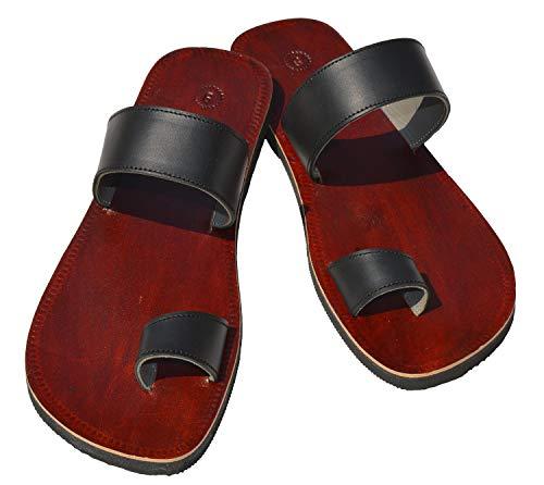 Handcrafted Luxury Sandalias de Piel para Hombre, Estilo Hippie Indio, Talla 8, Color marrón y Negro